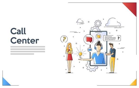 Flat linear illustration of Call Center. Customer Support concept. Vector banner, icon, illustration. Support service help assistance guidance. Flat female support and client service staff worker.