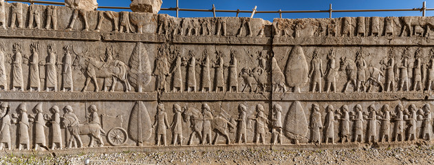 Canvas Prints Great Wall Bas-Relief Carvings at Persepolis in Shiraz, Iran