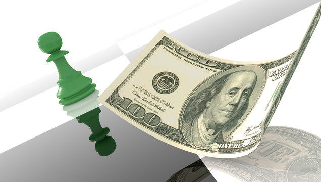 dollar pawn chess strategy bussiness money  - 3d rendering