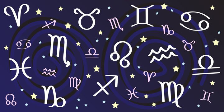Astrological Signs Background with All Astrology Symbols