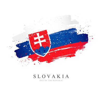 Flag of Slovakia. Vector illustration on white background.