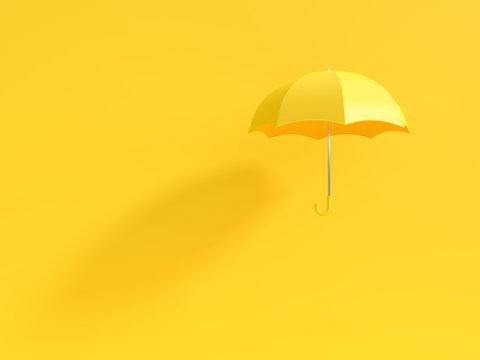 Minimal idea concept. Yellow umbrella