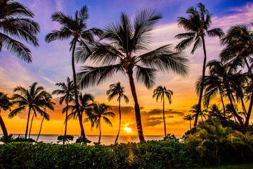 Fototapete - Sunset at Ko Olina Resort on Oahu's West Side
