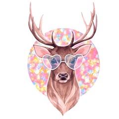 Deer in glasses. Watercolor illustration on pink background