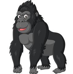Cartoon funny gorilla on white background