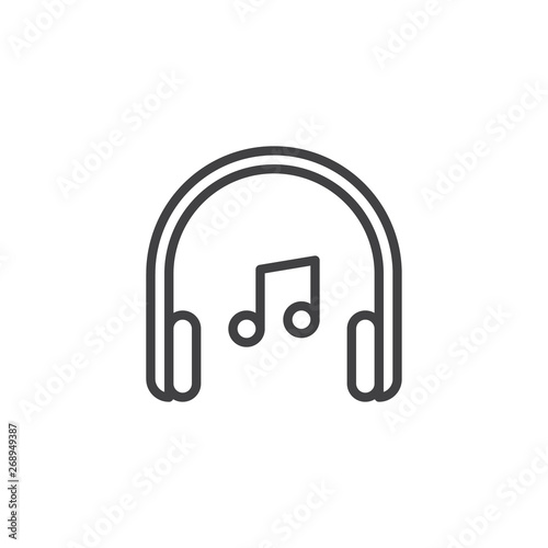 Headphones and music note line icon  linear style sign for mobile