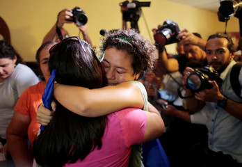 Maria Adilia Peralta, who according to local media was arrested for participating in a protest against Nicaraguan President Daniel Ortega's government, embraces a relative after being released from La Esperanza Prison, in Masaya