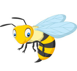 Cartoon happy wasp isolated on white background