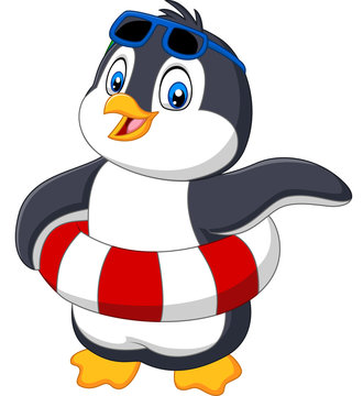 Cartoon penguin with inflatable ring and sunglasses