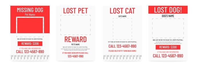 Lost pet poster template. Missing banner design.