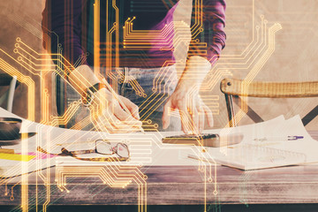 Close up of human hands and abstract innovative technologies for industries. Double exposure. Fototapete
