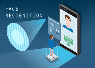 Isometric design. The smartphone scans the face of a person. Biometric identification, male