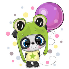 Greeting card Cute Cartoon Panda in a frog hat with balloon
