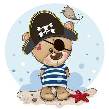 Baby cartoon Teddy Bear in sailor costume