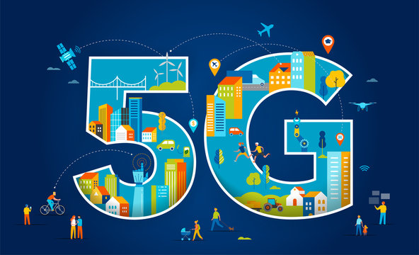 5G Flat vector illustration. People with mobile devices in the smart city