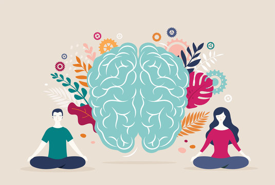 Young woman and man sit with crossed legs and meditate with brain icon on the background. Vector illustration