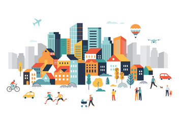 Wall Mural - Smart city, landscape city centre with many building, airplane is flying in the sky and people walking, running in park.