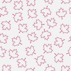 Maple leaf abstract outline seamless pattern. Canadian national symbol - red maple. Perfect for any design purposes.