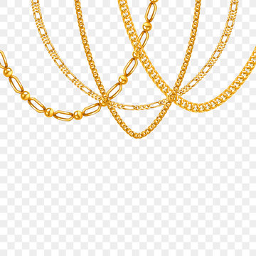 Gold chain isolated. Vector necklace