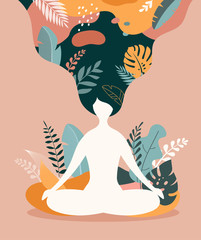 Mindfulness, meditation and yoga background in pastel vintage colors - women sitting with crossed legs and meditating.