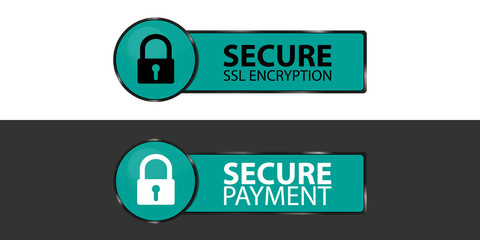 Secure SSL Encryption And Secure Payment Buttons With Padlock - Vector Illustrations - Isolated On Monochrome Background