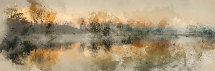 Photo sur Plexiglas Beige Watercolour painting of Panorama landscape of lake in mist with sun glow at sunrise