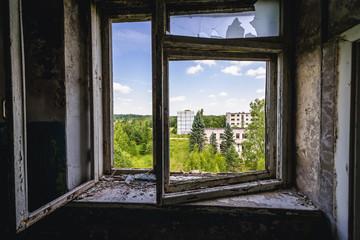 Interior of abandoned building in former Soviet military town Skrunda-1 in Latvia Wall mural