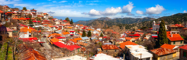 Garden Poster Cyprus Pedoulas cozy village in Troodos mountains, Cyprus, panoramic view. Scenic cityscape with tiled roofs and blue sky, Marathasa valley, Lefkosia (Nicosia) district