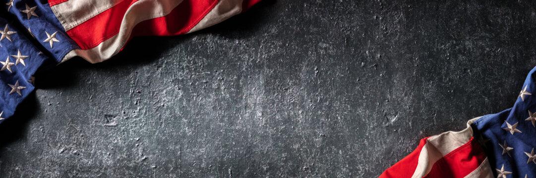 Vintage American Flag On Dark Grunge Wall