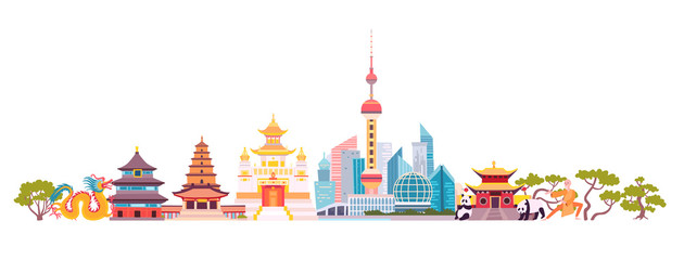 China skyline colorful background. Famous China building. China hand drawn vector illustration. Chinese travel landmarks/attraction. Vector illustration isolated on white background Fotomurales