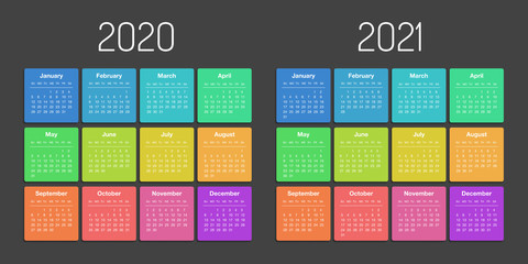 Calendar 2020 2021 year template day planner in this minimalist Fototapete