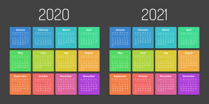 Calendar 2020 2021 year template day planner in this minimalist