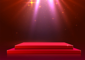 Abstract podium illuminated with spotlight. Award ceremony concept. Stage backdrop.