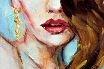 Ritratto illustrazione di dipinto ad olio ad impasto, donna con rossetto