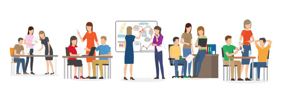People finding new ideas vector, man and woman with whiteboard, information on board, office workers teamwork brainstorming solution to problem isolated. Team of workers work with new idea