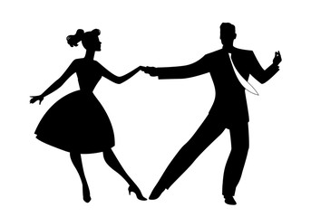 Fototapete - Silhouette of couple wearing retro clothes dancing rock, rockabilly, swing or lindy hop isolated on whihte background