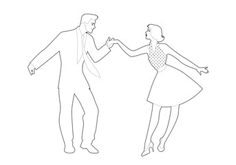 Fototapete - Beautiful girl and handsome man dancing rock, rockabilly, swing or lindy hop. Outlines vector illustration.