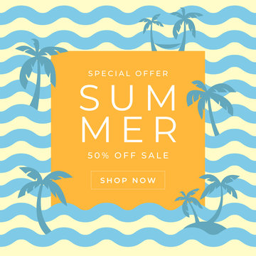 Summer sales banner template with blue wave and coconut tree.