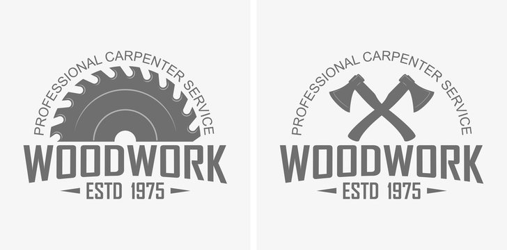 Logo advertising professional carpentry service. Ax, saw and text in black