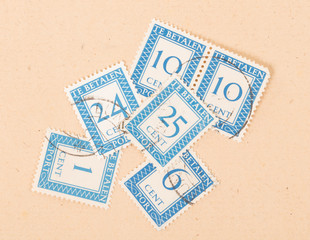 THE NETHERLANDS 1950: Stamps printed in the Netherlands showing their value, circa 1950