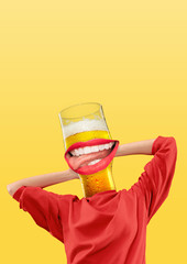 Female body in red sweetshot headed by a glass of beer with perfect smile on yellow background....