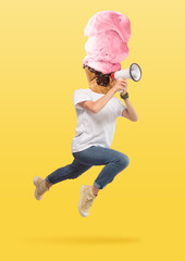 Male body in jump in white shirt headed by a strawberry icecream against yellow background....