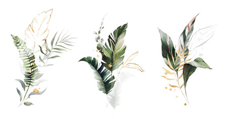 Wall Mural -  watercolor and gold leaves. herbal illustration. Botanic tropic composition.  Exotic modern design