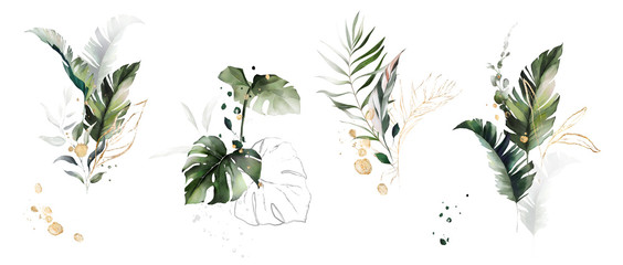 watercolor and gold leaves. herbal illustration. Botanic tropic composition.  Exotic modern design Fotoväggar