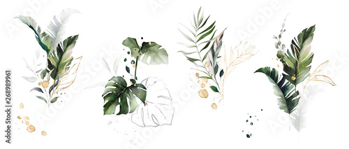 Wall mural  watercolor and gold leaves. herbal illustration. Botanic tropic composition.  Exotic modern design