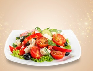 Wall Mural - Greek Salad - Feta Cheese, Olive and Vegetables, isolated on white