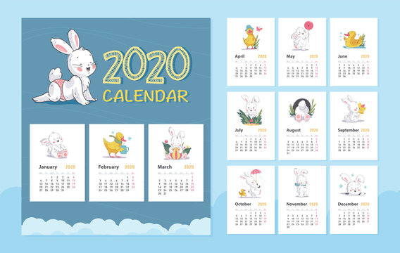 Vector 2020 baby calendar design template with cute white bunny animal character & little yellow duck walk, stand, sit. Hand drawn style, pastel color. Also for baby shower, happy birthday card, print