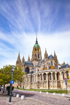 the XIth century gothic Cathedral in Bayeux, Lower Normandy