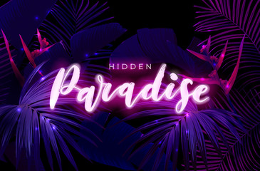 Fototapeta Dark blue and violet neon tropical design with palm leaves and 3d lettering. Summer night vector illustration. obraz