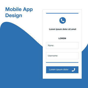 Mobile application in blue. Vector Icons